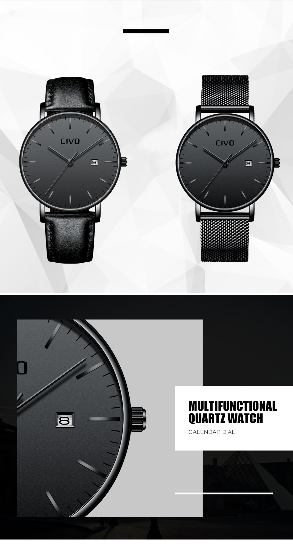 CIVO Men Watch Ultra Thin Minimalist Waterproof Date Wrist Watch For Men Black Genuine Leather Business Fashion Watch Men Clock 4