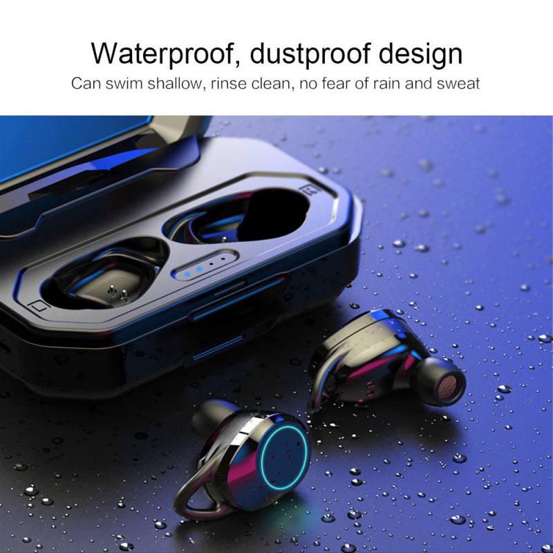 Mini 5.0 Bluetooth sans fil écouteurs 3D basses profondes IPX7 extérieur sans fil écouteurs intra-auriculaires casque pour IOS Android