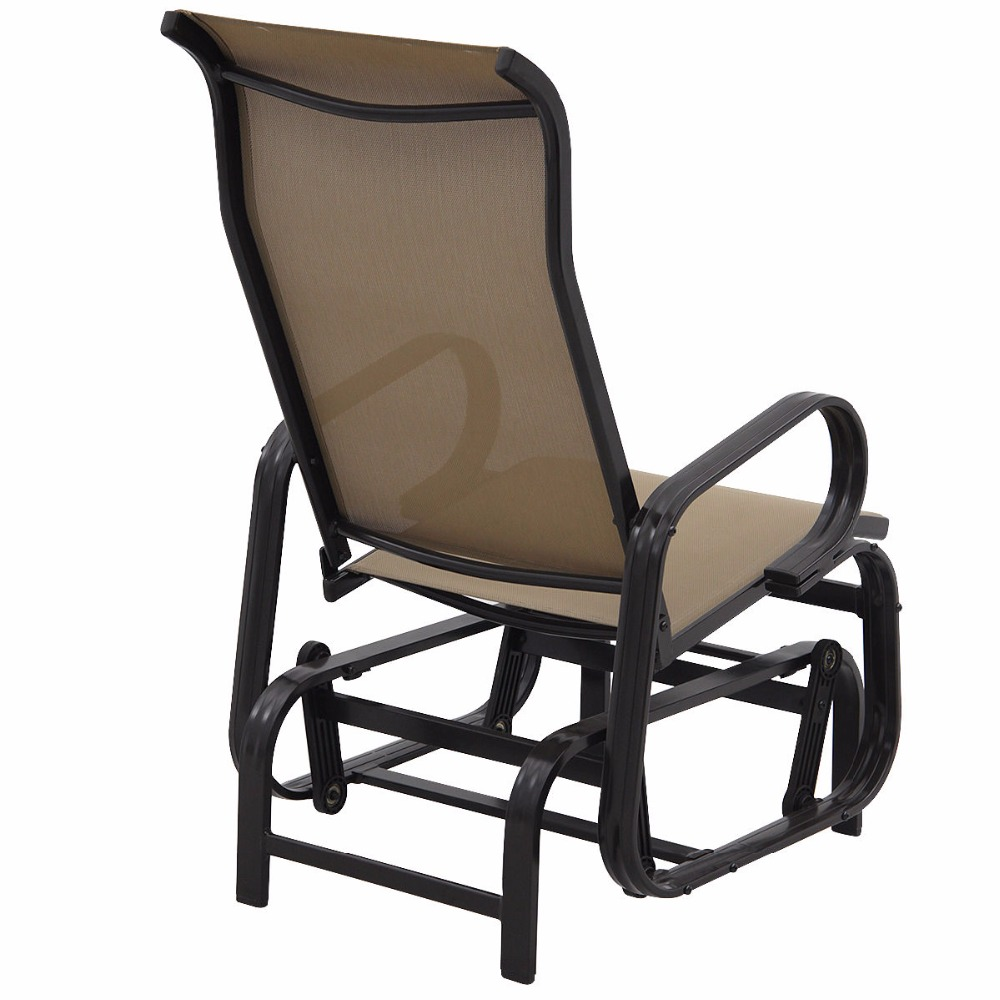 Goplus patio glider rocking bench rocker person chair seat armchair pool backyard aluminum modern outdoor chairs op3289 in beach chairs from furniture on