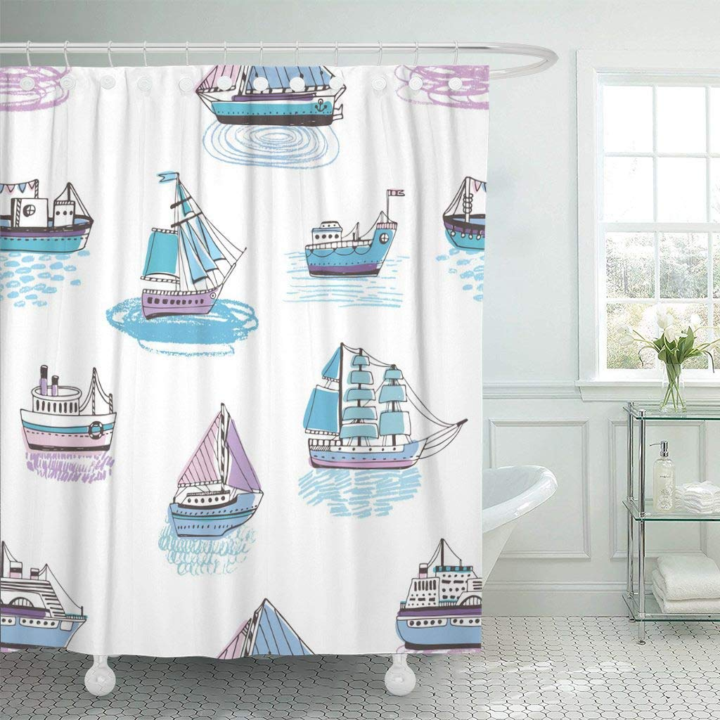 Nautical Fabric Shower Curtains Fabric Shower Curtain With Hooks Colorful With Doodle Ships Yachts