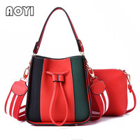 AOYI Women High Quality PU Leather Handbag Lady Ribbons Bucket Shoulder Bag Crossbody Messenger Bags Lady