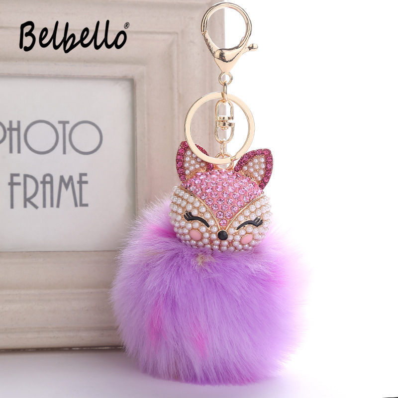 Diligent Belbello 2019 Fashion Lovely Hair Ball Keyboard Fox Head Water Drill Pendant Bag Car Fur Hangers Holiday Gift Toy Plush Pendant Toys & Hobbies Plush Keychains