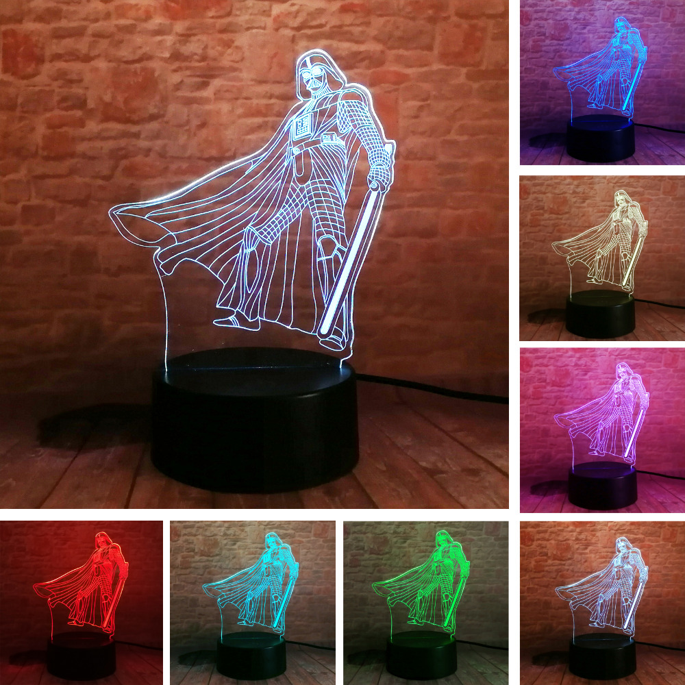 3D USB Star Wars Darth Vader Black Warrior Table Lamp 7 Colors Visual LED Mood Dimming Sleep Lighting Night Light Kids Toys Gift ...