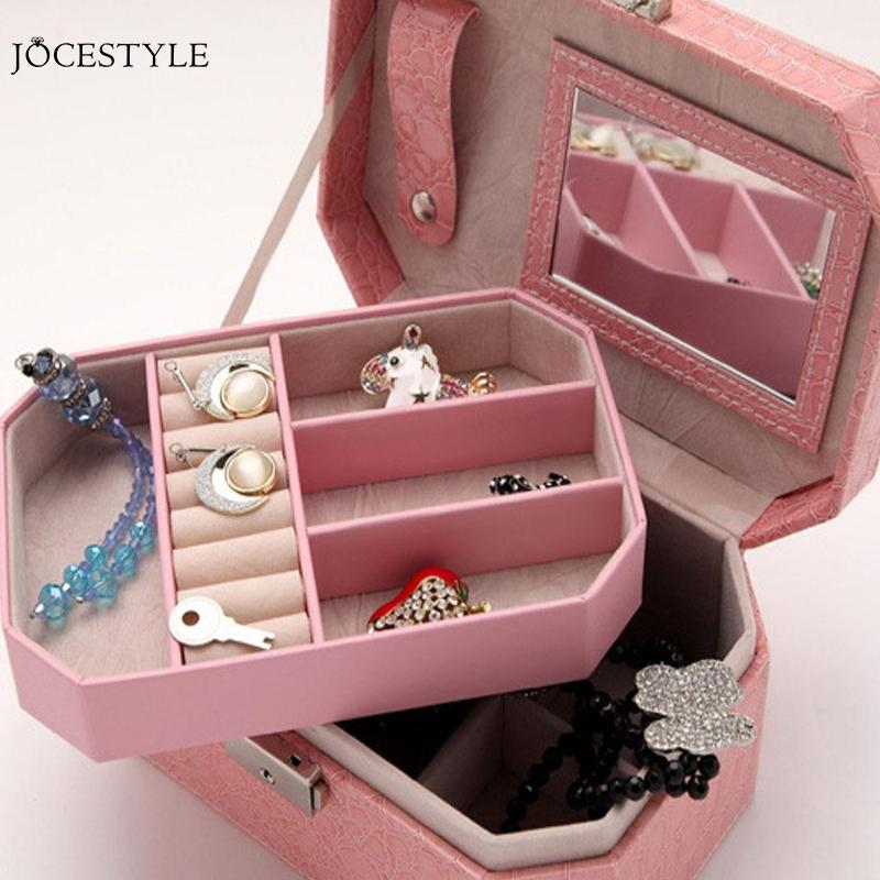 Jewelry Box Organizer PU Leather Double Layers With Mirror Jewelry Dispplay Holder E1IT Drop Shipping Decor Gifts