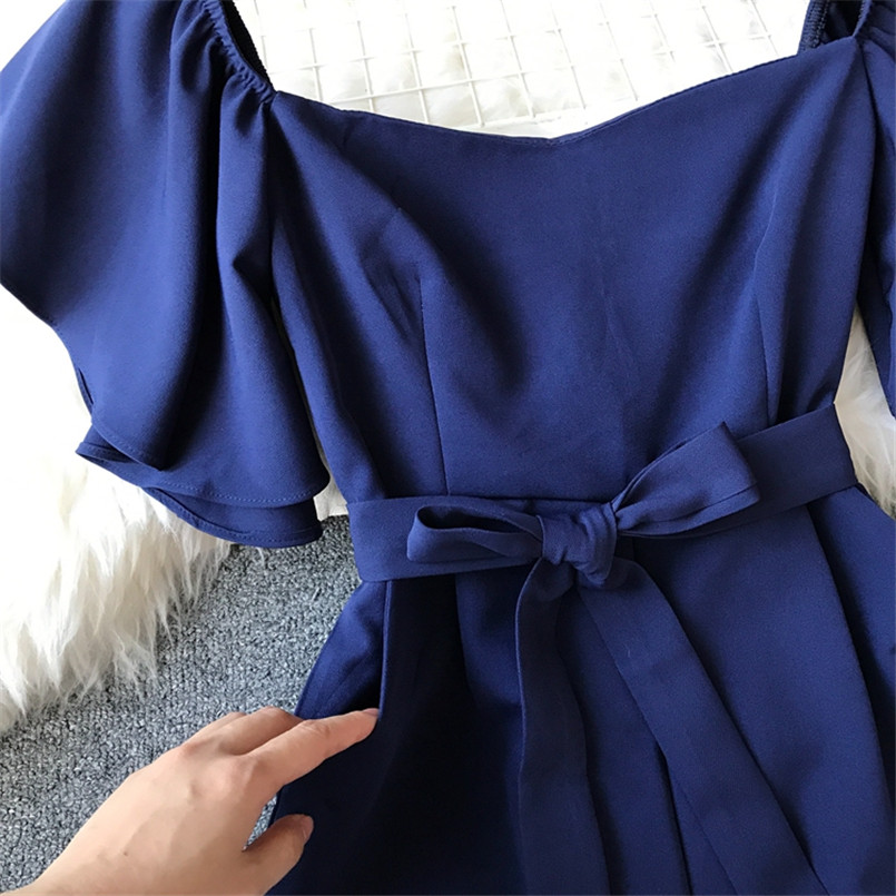 Fashion Solid Slim New Off Shoulder Jumpsuit Casual Sexy Women Bandage Playsuit Summer Long Full Length Overalls Vintage Romper 6
