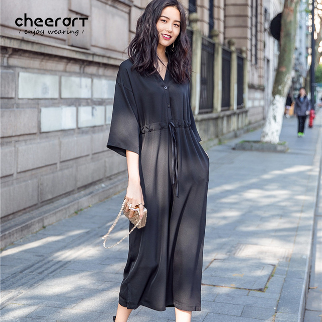 08b164eee000f Cheerart 2017 Summer Jumpsuit V Neck Bodysuit Women Black Loose Rompers  Womens Jumpsuit Lace Up Overalls