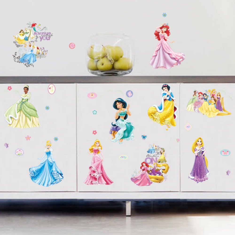 Cartoon princess wall stickers for kids room bedroom furniture kitchen cabinets stickers removabl diy poster decor girls gift