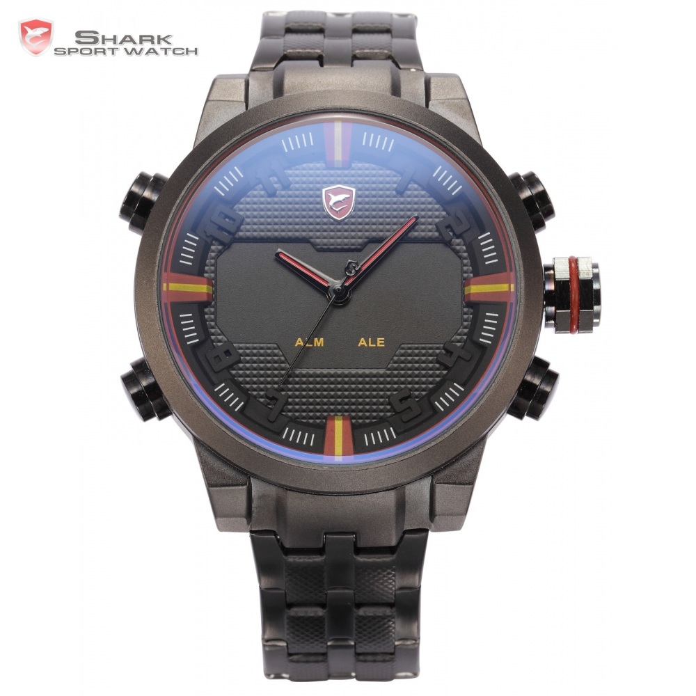 Top Brand SHARK Sport Watches Men Relogio Dual Time Stainless Steel Strap LED Alarm Male Clock Military Digital-watch / SH197 будильник digital clock touch relogio 15 led alarm clock