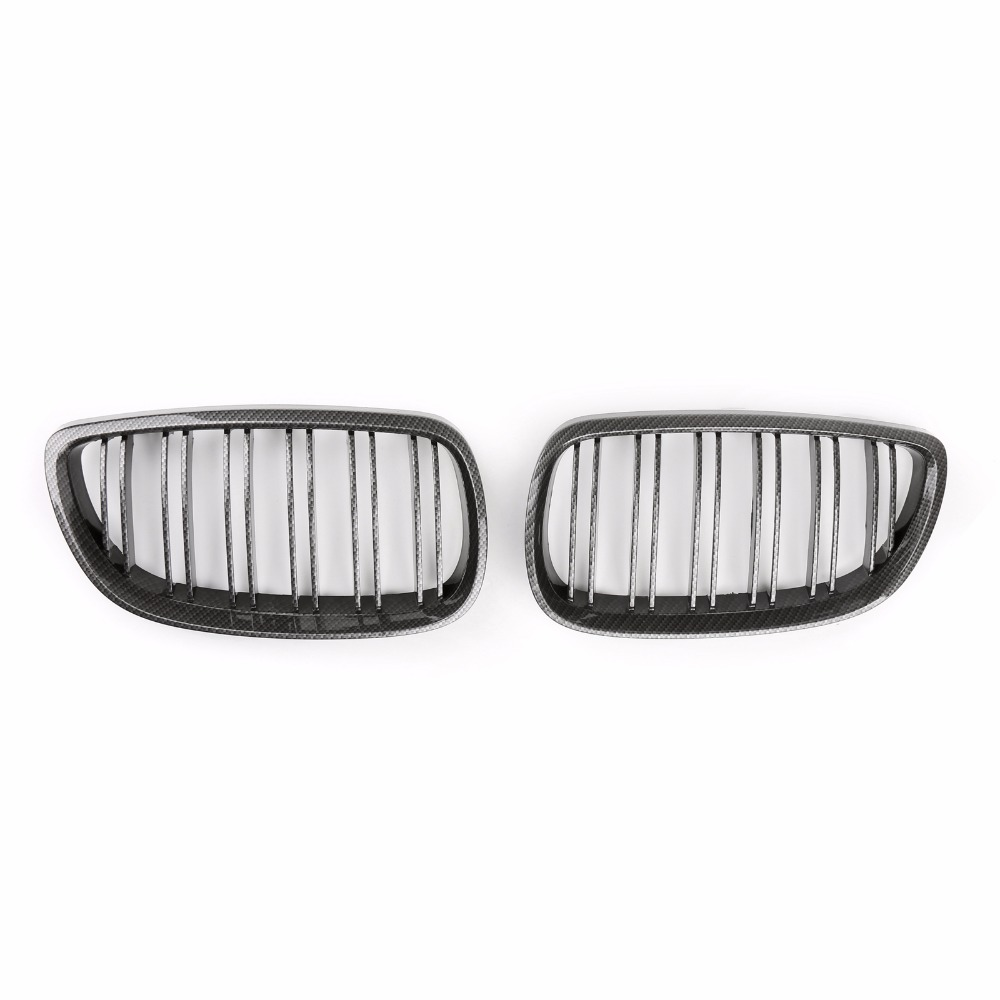Areyourshop Car Front Kidney Grill Grille Carbon Double Line For BMW E92 E93 3 Series 2006-2010 High Quality Car Grille Covers for bmw 3 series e46 2door facelifted coupe 2004 2005 2006 carbon fiber black front grille grill left