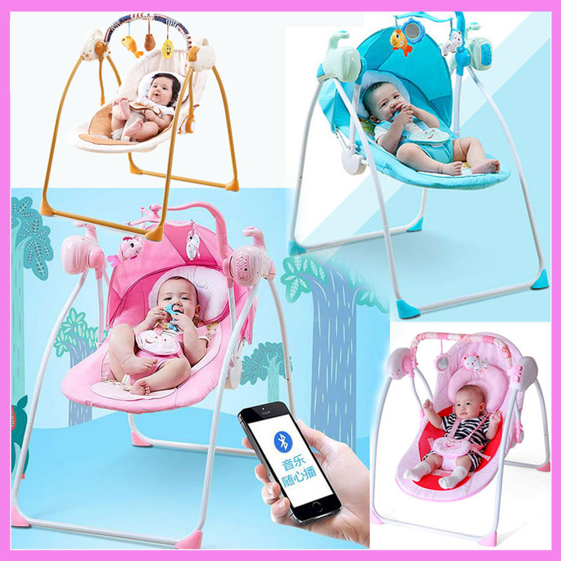 Bluetooth Remote Control Baby Toddler Swing Newborn Rocking Chair Recliner Swinging Lounge Chair Cradle Bouncer 0~3 Years baby rocker newborn baby swing portable carrier rocking chair baby bouncer toddler sleeping seat rocking swing chair cradle