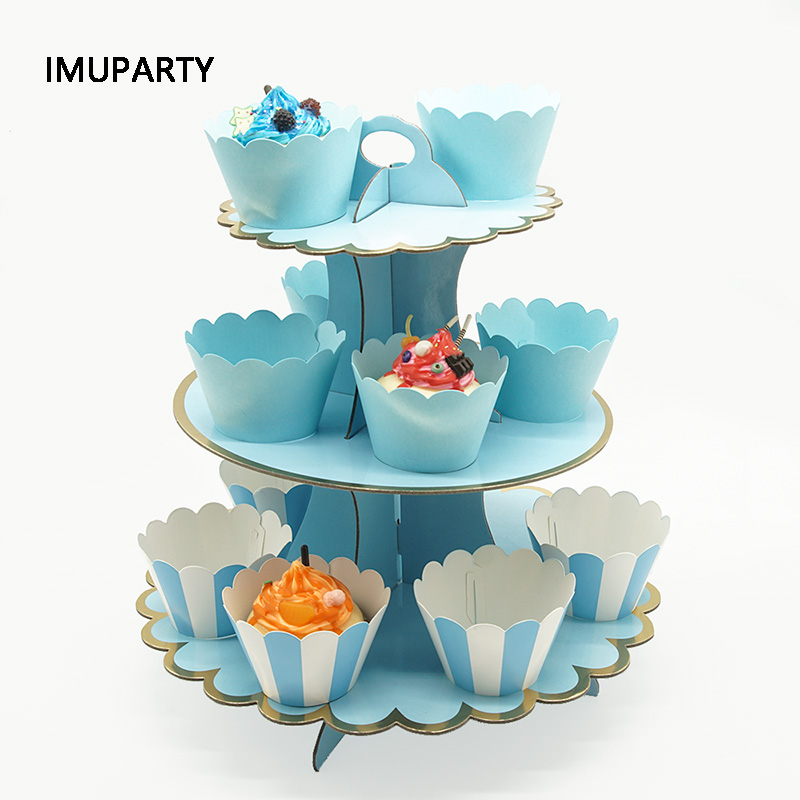 3 Tier Cupcake Stand Paper Solid Striped Cupcake Wrappers Decorations For Wedding Birthday Holiday Party Dessert Table Supplies