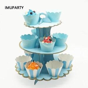 Image 1 - 3 Tier stojak na babeczki papieru stałe paski Cupcake obwolut dekoracje na ślub urodziny przyjęcie świąteczne deser tabela dostaw