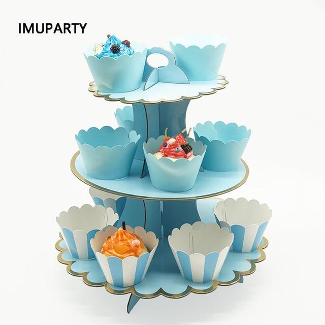 3 層のカップケーキスタンド紙固体ストライプのカップケーキラッパー装飾結婚式誕生日ホリデーパーティーデザートテーブル用品