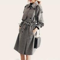 Liva Girl European Style Spring Autumn Women Long Trench Coat Plus Size Plaid Casaco Feminino Slim