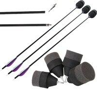 6 pcs mixed carbon shaft archery arrows with 6pcs foam target tips soft arrow heads archery bow and arrow tag
