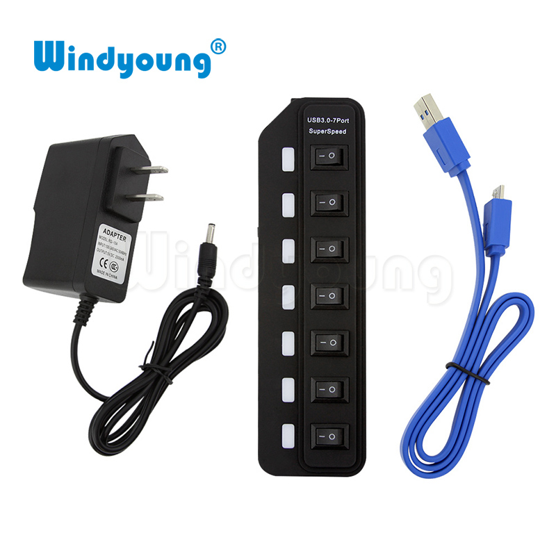 Windyoung USB3.0 HUB 7 Port with Power Charging and Switch Multiple USB Power Adapter LED ON/OFF Switch Splitter for PC Laptop hub power new 7 ports led usb 2 0 adapter hub power on off switch for pc laptop 60315