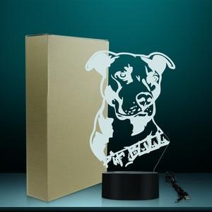 Image 5 - חיות מחמד כלב כלבלב 3D שולחן מנורת ילד חדר לילה אור אמריקאי גמיש Pitbull טרייר תוכנן בית תפאורה LED מנורת מותאם אישית שם