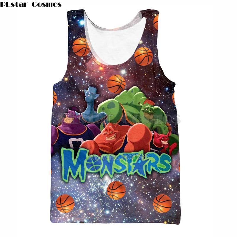 PLstar Cosmos brand Vest Space Jam Monstars Harajuku style Men Women Hipster 3d Vest Funny