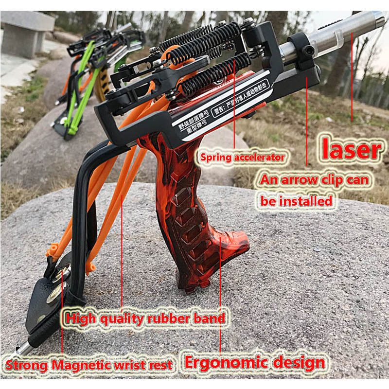 Laser Slingshot Powerful Hunting Fishing Catapult Hunting Bow Stainless Steel Sling Shot With Arrow Rest Clamp Crossbow Bow