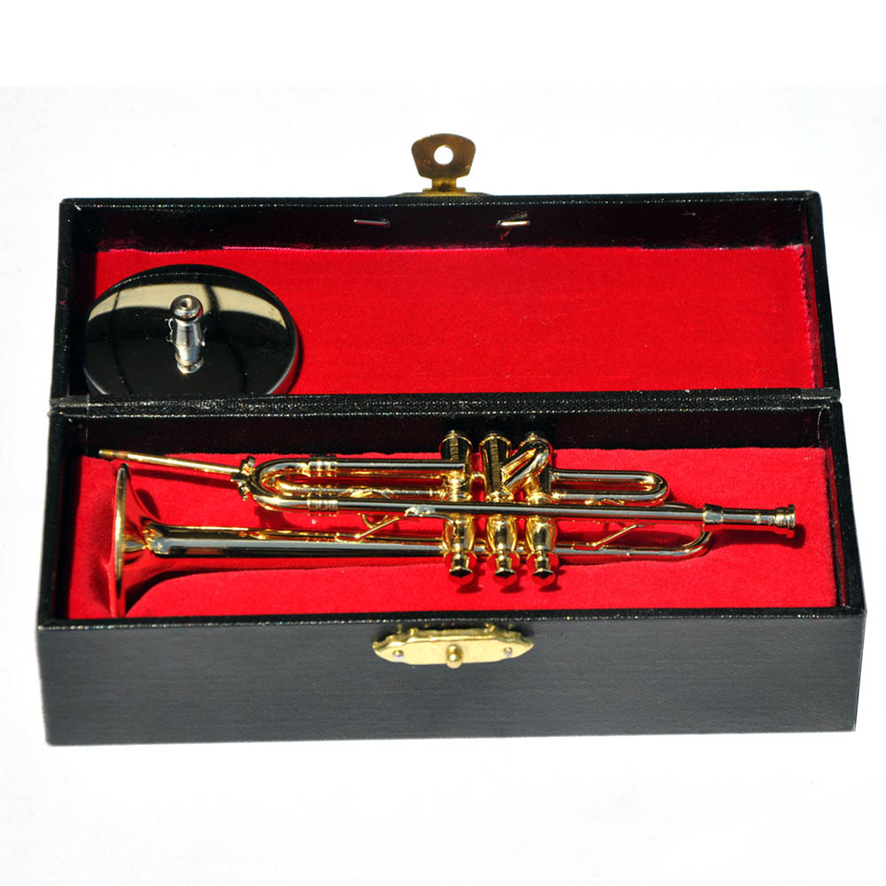 Moonembassy Trumpet Model Mini Musical Instrument Miniature Desk
