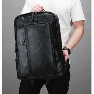 Image 5 - كمبيوتر محمول حقائب جلدية للرجال على ظهره 15.6 بوصة شنطة ظهر للكمبيوتر المحمول الذكور حقائب مقاوم للماء الأعمال السفر متعددة الوظائف على ظهره