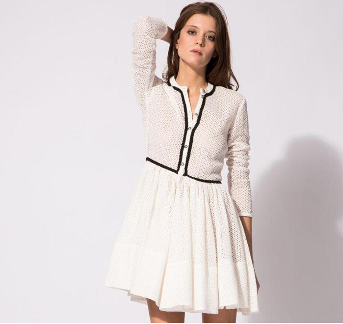 e6a8d94aa0 New 2015 MAJE Openwork Knit dress Women Spring Autumn Long sleeve White  Mini Ball Gown Party Dress Hollow Out Mini Pouf Dress mx-in Dresses from  Women s ...