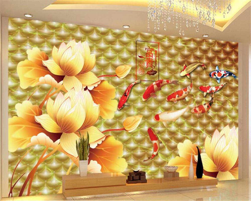 compare prices on wall candy wall paper online shoppingbuy low  - beibehang the golden lotus nine fish eye candy wallpaper enrichment dstereo soft tv background wall