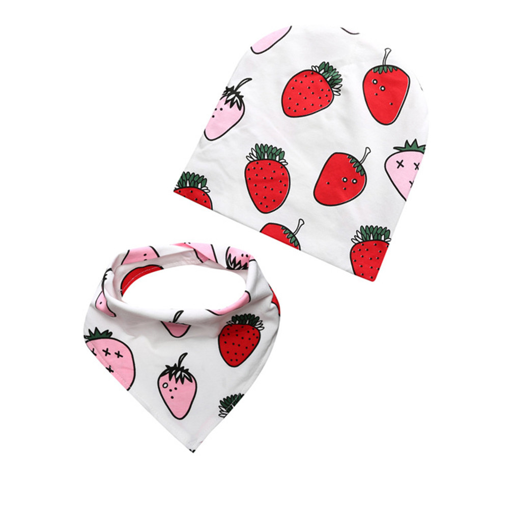 2pcs Baby Boys Girls Bibs Caps Combination Geometric Cartoon Burp Cloths Toddler Saliva Towel Cute Cartoon Feeding Scarf Hat