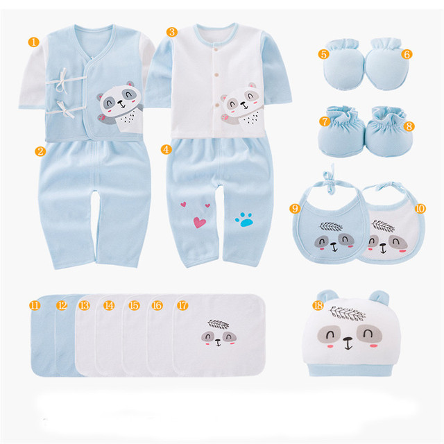 18 جزء/الوحدة الوليد طفلة الملابس 100% القطن الرضع طفلة ملابس الصيف لينة طفل الفتيان الملابس الوليد قبعة المرايل 2