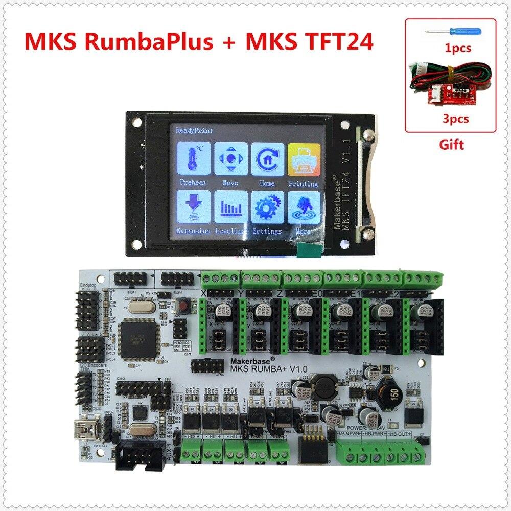 Imprimante 3D carte mère MKS Rumba + MKS TFT 24 affichage 2.4 pouces écran tactile LCD contrôleur carte rumba-board kit de bricolage électronique
