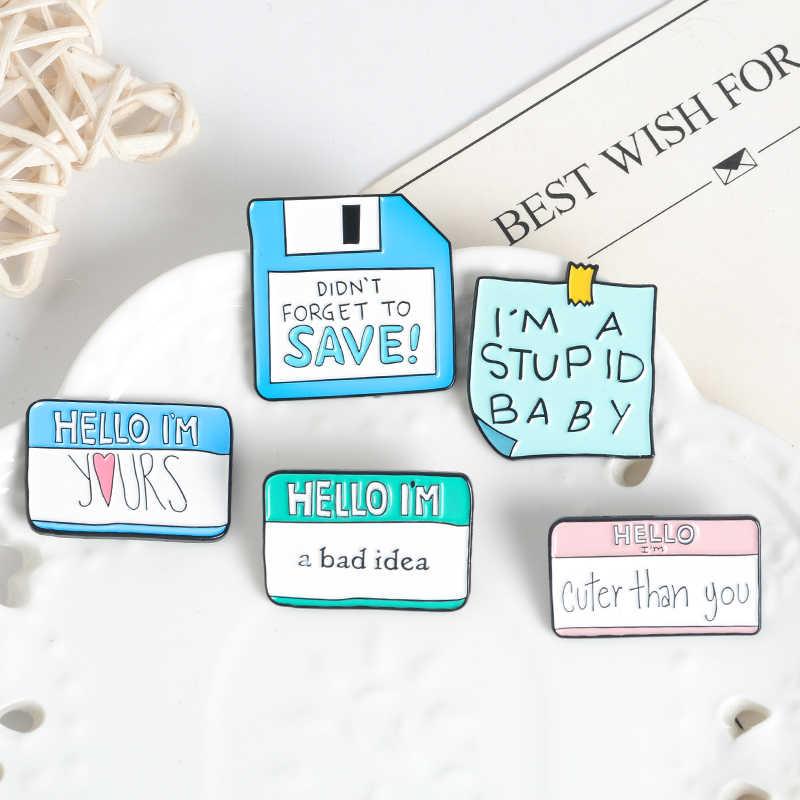 Qihe Perhiasan Sticky Notes Enamel Pin Pesan Lucu Kerah Pin Rencana Harian Memo Kertas Lencana Bros untuk Wanita