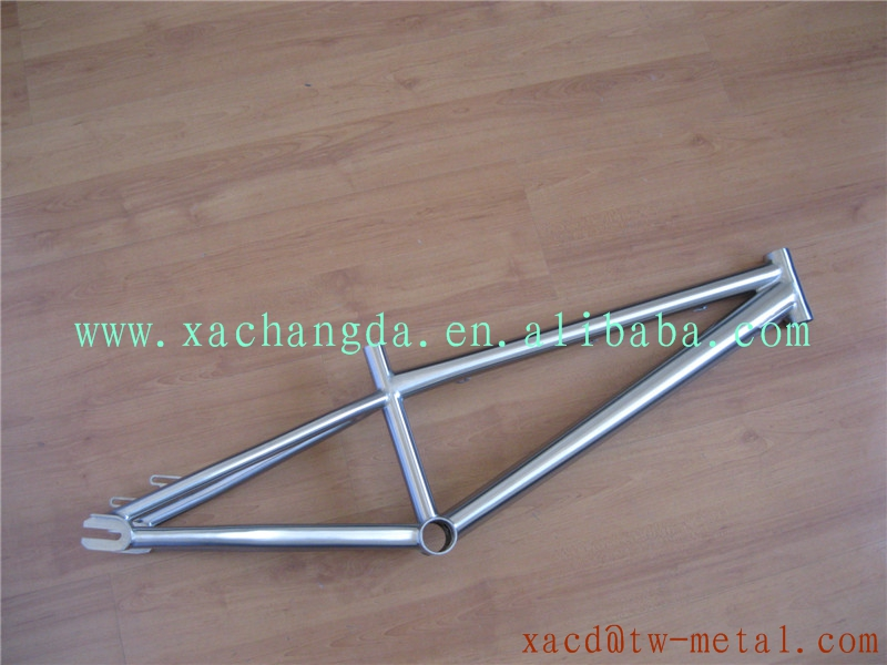 chinese titanium bmx bike frame bmx frame with integrated head tube with handing brush finished