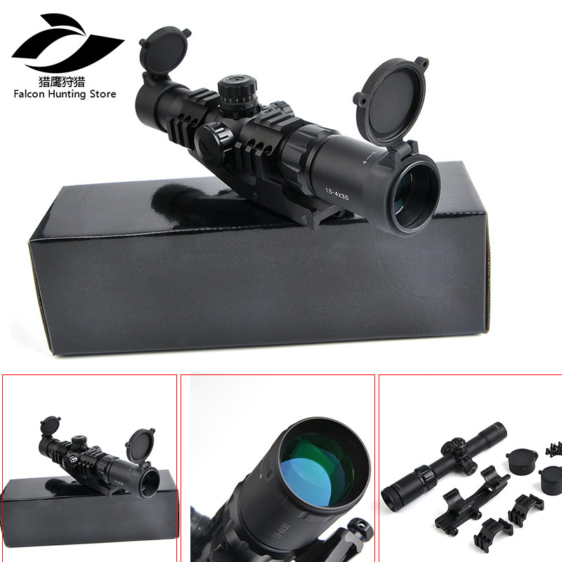 цена Tactical Optics Scope 1.5-4x30 RGB Tri-Illuminated Mil-Dot Reticle Riflescope With 11/20mm Mount Sniper Hunting