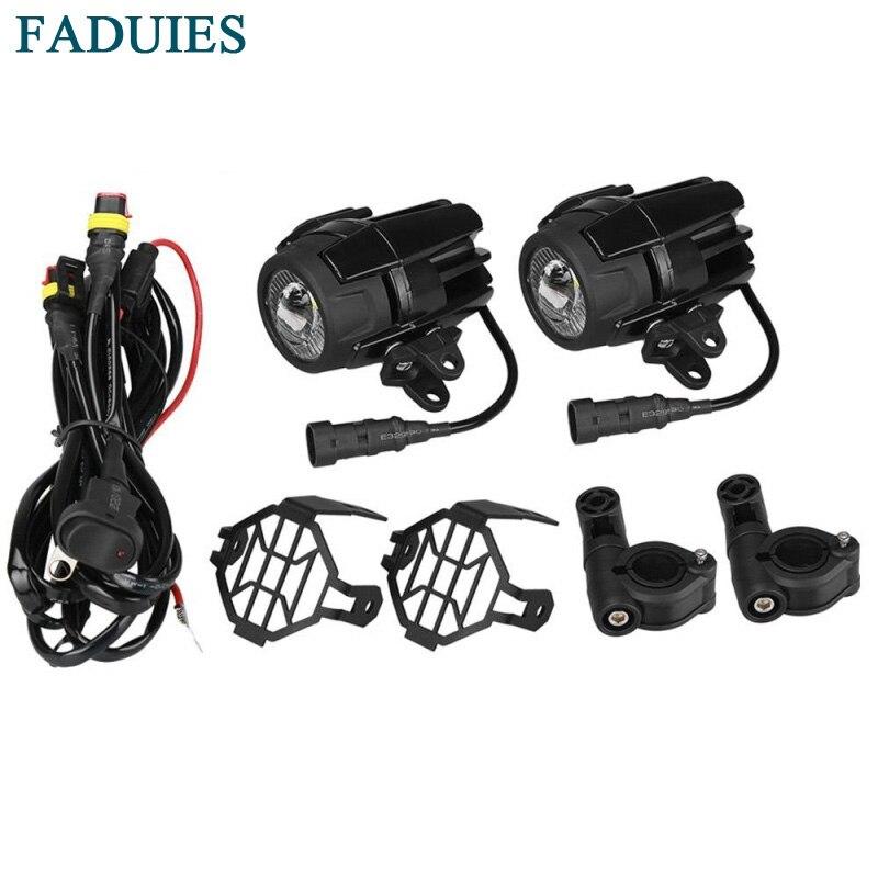 FADUIES Moto LED Fog Light & Protéger Gardes avec Câblage harnais Pour BMW R1200 GS/ADV Moto Led Lumières Blanc 6000 k