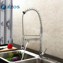 AZOS Kitchen Sink Faucet Brass Spring Pull Down Spout Single Hole Deck Mount Chrome Polish Hot Cold Mixer CFDH008