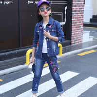 Winter Girls Clothes Cartoon Embroidered Cowboy Jacket Pants T-shirt Three-piece 4-11 Y Child Quality Clothing 2019 Hot Sale