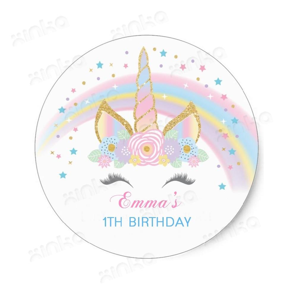 100 Stukken Gepersonaliseerde Rainbow Eenhoorn Verjaardagsfeestje Gunsten Behandelen Zak Stickers, Eenhoorn Party, Eenhoorn Bont Favor Stickers