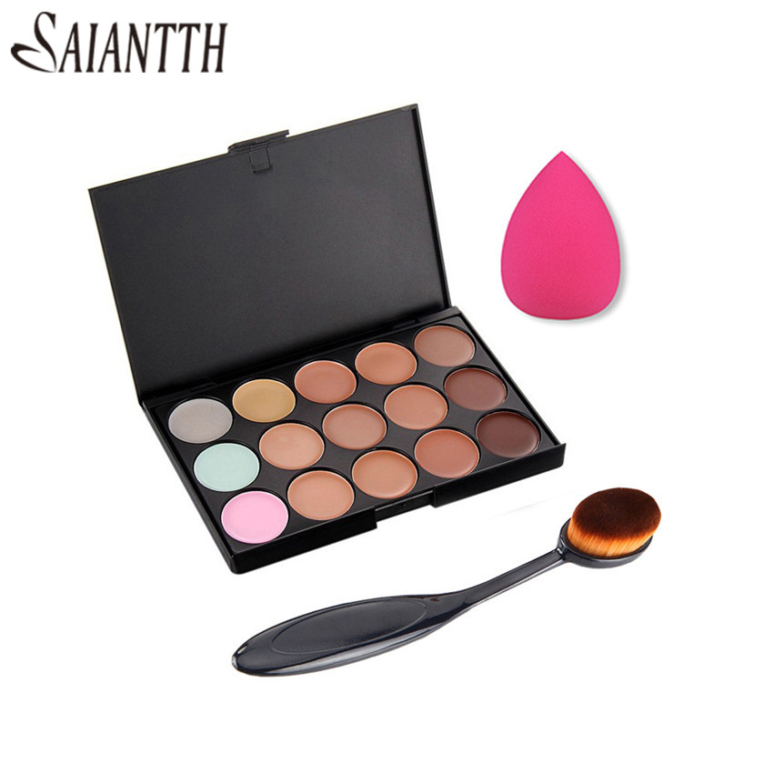 SAIANTTH makeup tool set kit combination 15 color concealer Palette + Toothbrush makeup brush + water drops sponge puff cosmetic 46pcs socket set 1 4 drive ratchet wrench spanner multifunctional combination household tool kit car repair tools set