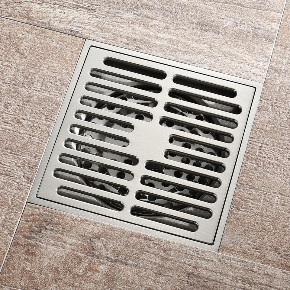 Frap Bathroom Drain Brass Square Shower Room Floor Drain Trap Waste Grate With Hair Strainer Anti Smelly Drains 10cm 10cm Y38108 Drains Aliexpress