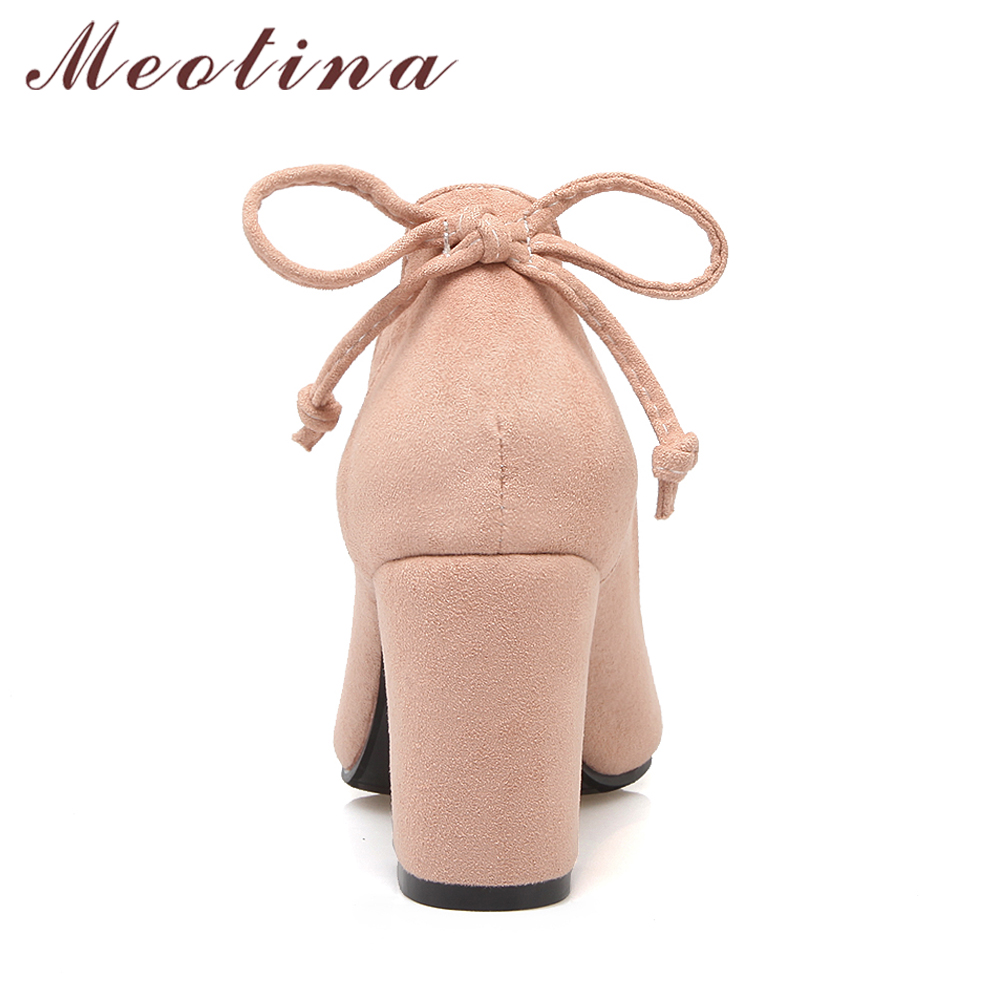 Meotina Women Pumps Thick Heel Female Shoes Pointed Toe High Heels Bow Ladies  Party Shoes Slip. sku  32845656343 4e535277efb7