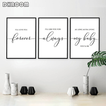 Nursery Wall Art Ill Love You Forever Canvas Painting Baby Shower Gift Posters and Prints for Room Minimalist Decor