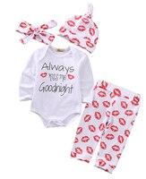 4pcs Newborn Infant Baby Toddler Boy Girl Tops White Romper Long Pants Hat Leggings Lip Print
