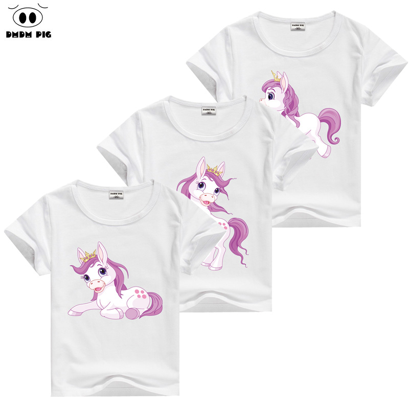 DMDM PIG Horse T-skjorte Baby Kids Short Sleeve T-Shirts For Girls TShirt Barnas Toddler Clothing Tops Tee Size 2 3 4 5 Years