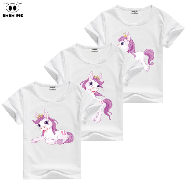 88c14cd8a DMDM PIG Horse T Shirt Baby Kids Short Sleeve T-Shirts For Girls TShirt  Children's Toddler Clothing Tops Tee Size 2 3 4 5 Years