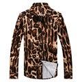 New 2016 fashion leopard print slim fit long-sleeve shirt men party dress shirts camisa masculina men's clothing size m-5xl CS25