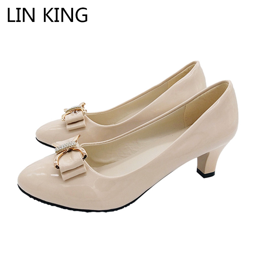 LIN KING Sexy Butterfly-knot Pointed Toe Women Pumps Solid Women High Heel Shoes Slip On Bowtie Low Square Heel Shoes For Girls lin king casual women platform pumps wedges leather high heel shoes vintage solid slip on gladiator shoes lady round toe shoes