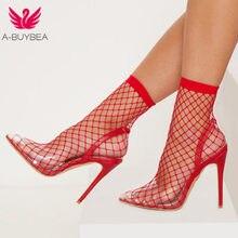 a60cdcb13 A-BUYBEA Buracos Malha Das Mulheres Apontou Toe Sandálias Sexy Sapatos de  Verão Fresco Respirável