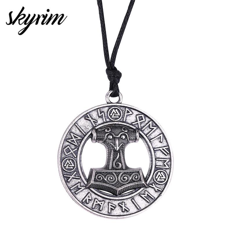 Skyrim Slavic Mjolnir Thor Hammer Perun Pendant Necklaces Norse Rune Amulet  Men's Charm Necklace Original Viking Jewelry Gifts