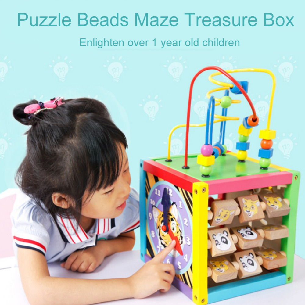 Puzzle Toy Treasure Chest Bead Maze Activity Cube For Children Colourful Wooden Activity Cube Toys Puzzle Bead Maze Toy wooden kids stringing bead roller coaster maze puzzle toy early educational toys for baby children vegetable pattern round bead