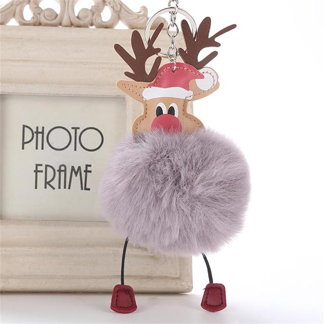 Bonito Cervos do Natal Pingente Chaveiro Pompom Fofo Pele De Pelúcia Boneca Chaveiro Bolsa Chaveiro Moda Jóias Presente Do Xmas